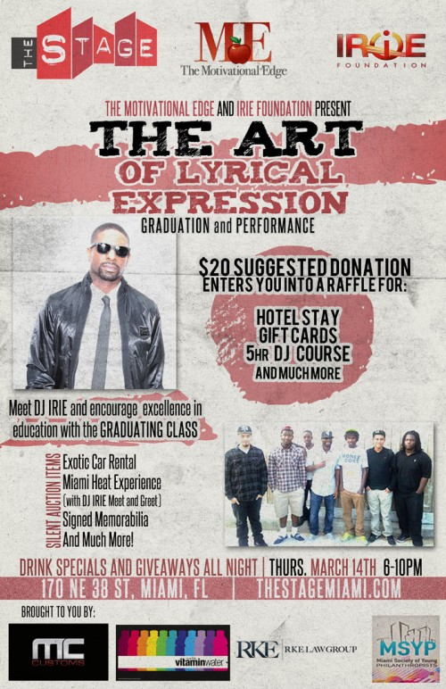 Lyrical Expression Event ME and IRIE Foundation March 14th